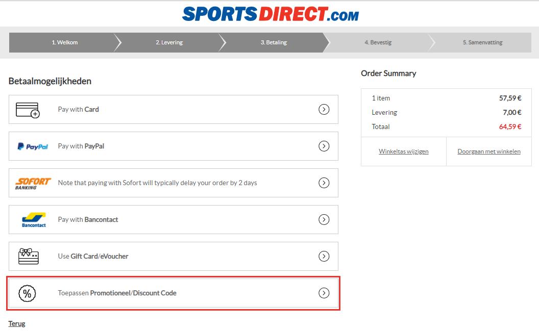 SportsDirect kortingscode gebruiken