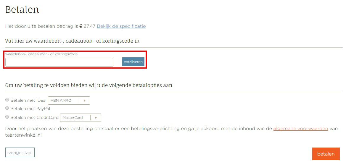 Taartenwinkel.nl kortingscode gebruiken