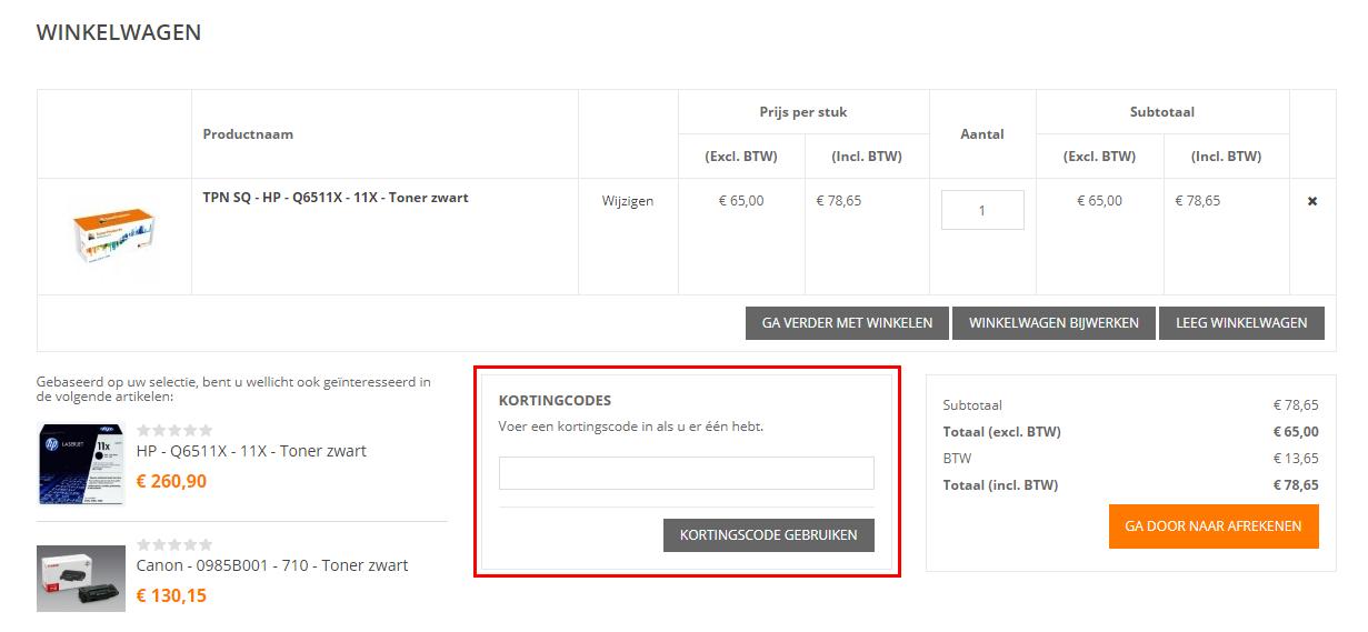 Toner Products Nederland kortingscode gebruiken
