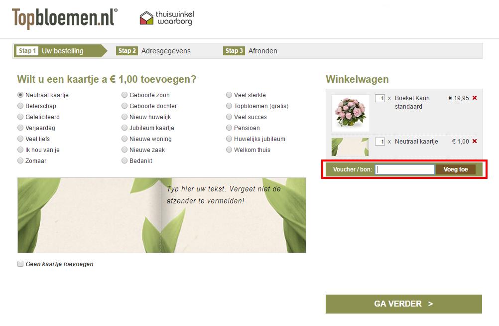Topbloemen kortingscode gebruiken