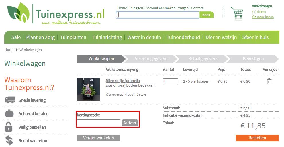 Tuinexpress kortingscode gebruiken