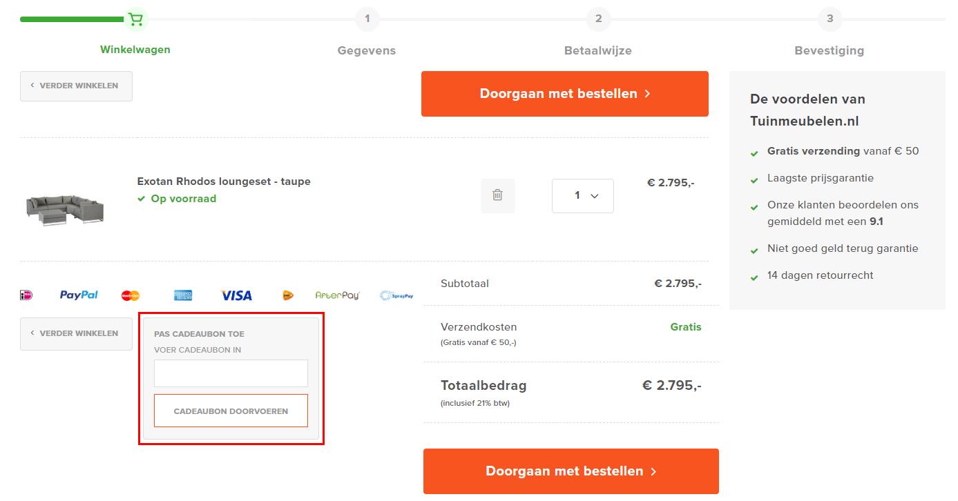 Tuinmeubelen.nl kortingscode gebruiken