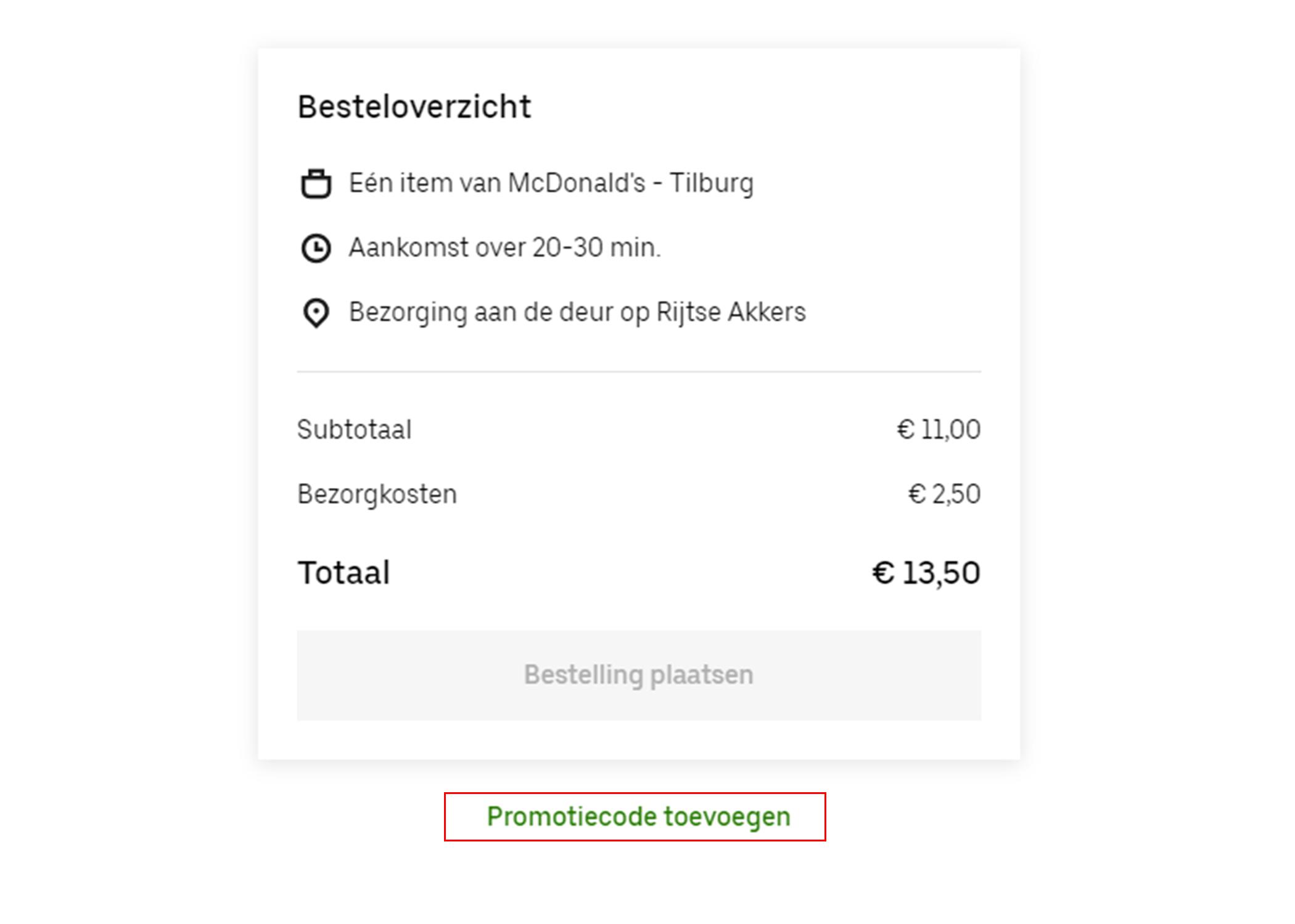 Uber Eats kortingscode gebruiken