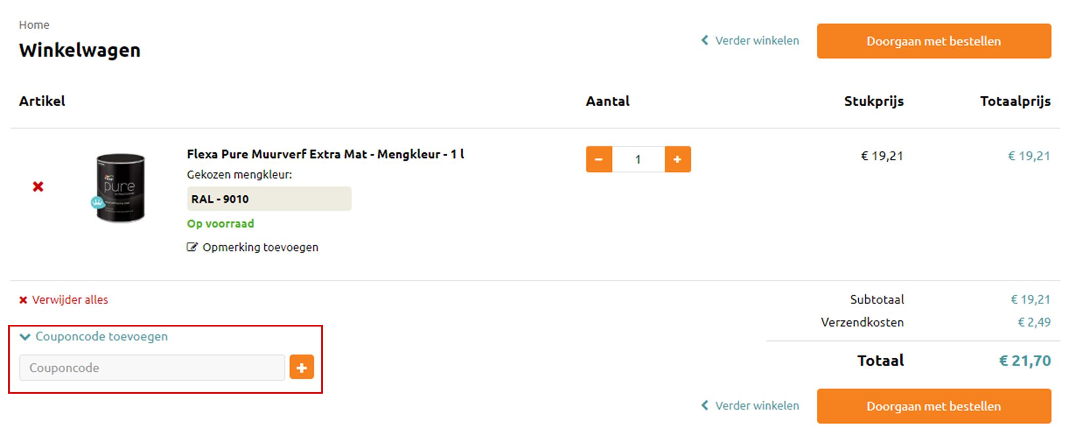 Verf.nl kortingscode gebruiken