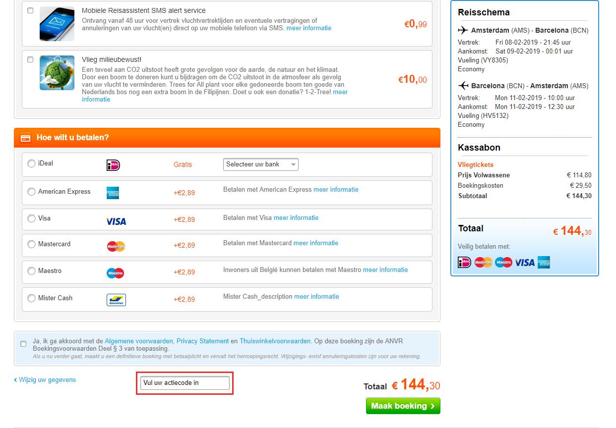 Vliegtickets.nl kortingscode gebruiken