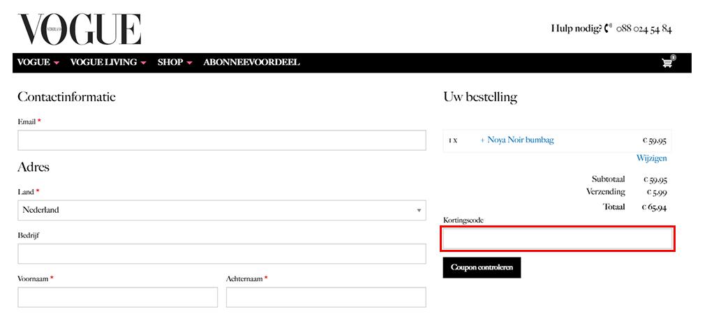 Vogue kortingscode gebruiken