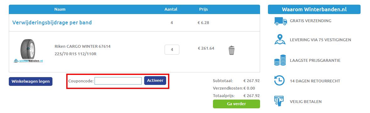 Winterbanden.nl kortingscode gebruiken