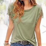 Bij Vouchervandaag krijg je nu 71% korting op een fringe t-shirt