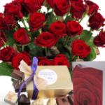 Euroflorist geeft 5% korting op een cadeauset rode rozen