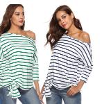 Bij Vouchervandaag shop je een striped off shoulder top voor de helft van de prijs