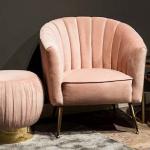 Woononline geeft 4% korting op een Shelly Pink velvet fauteuil